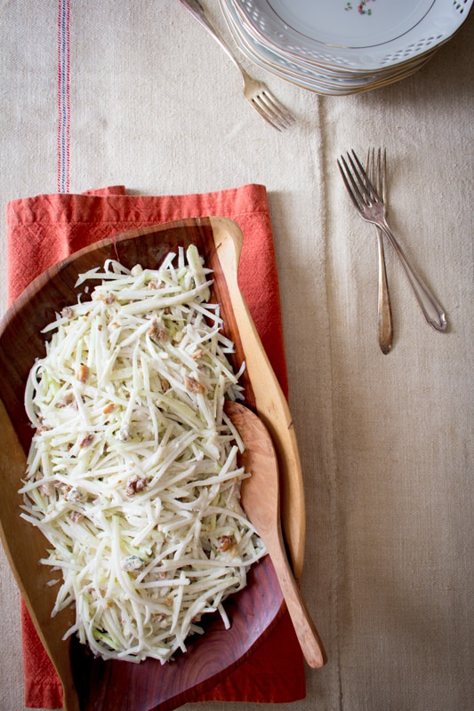 kohlrabi fennel slaw with blue cheese and walnuts