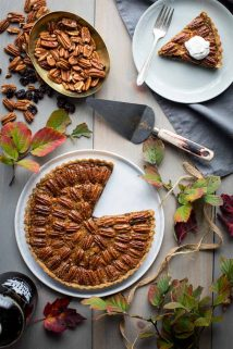 Pecan tart with foliage