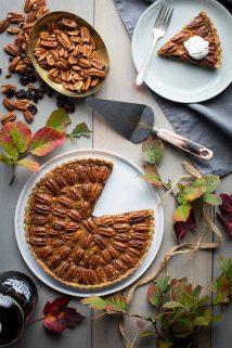 Pecan tart with foliage