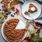 This Pecan and Dried Cherry Tart with Maple is a healthy twist on pecan pie for Thanksgiving and the winter holidays. | Healthy Seasonal Recipes | Katie Webster #tart #thanksgiving #holiday #maple