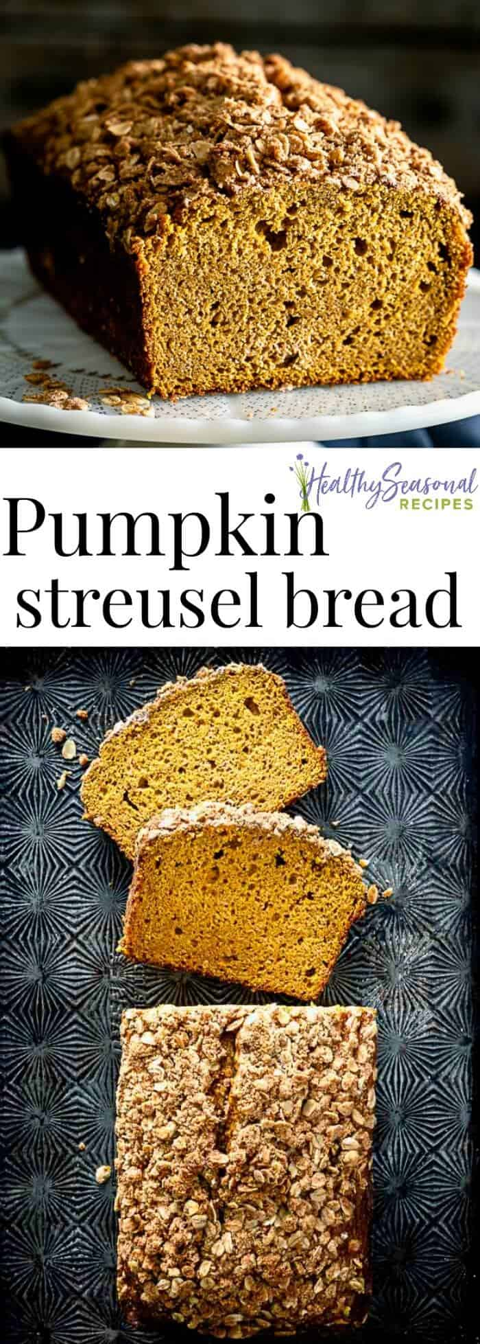 Pumpkin Streusel Bread with cinnamon, nutmeg and cream sherry (or dark rum). The oat, butter and brown sugar crumb topping and impressive rise makes this pumpkin loaf a great homemade gift for the holidays. #pumpkinbread #pumpkin #pumpkinrecipes #quickbread #homemadegift #holidaybaking #baking #snack #breakfast #fallbaking