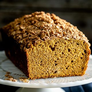 a close-up look of the pumpkin streusel bread- the texture of the inside