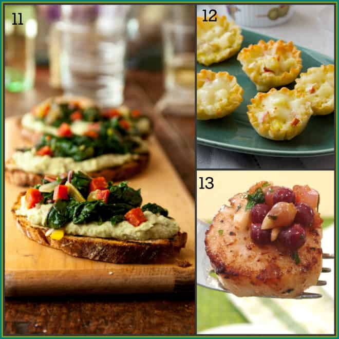 25-tapas-party-recipes | Healthy Seasonal Recipes via @healthyseasonal | white bean puree crostini, mini filo quiches, scallops with champagne grapes