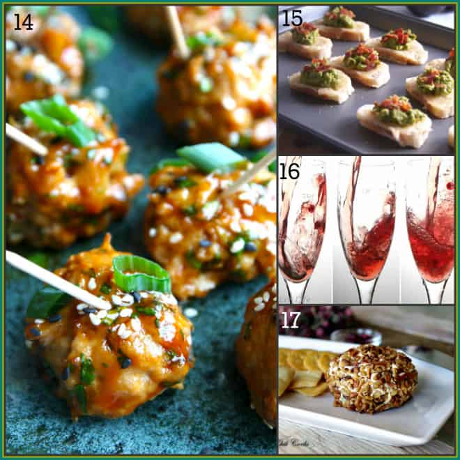 25 tapas party recipe ideas on Healthy Seasonal Recipes via @healthyseasonal | hoisin glazed turkey meatballs, swiss avocado and bacon toasts, champagne cocktail, pomegranate cheese ball