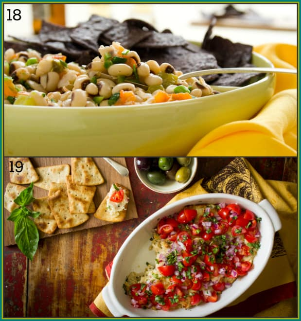 25-tapas-party-recipes | Texas Caviar and Hot Italian Cheese Dip by Katie Webster on Healthy Seasonal Recipes