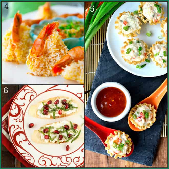 25 Tapas Recipes | via @healthyseasonal | Coconut Shrimp, crab rangoon, pomeranate crostini