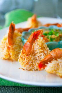 healthy baked coconut shrimp recipe with mineola tangelo salad from @healthyseasonal