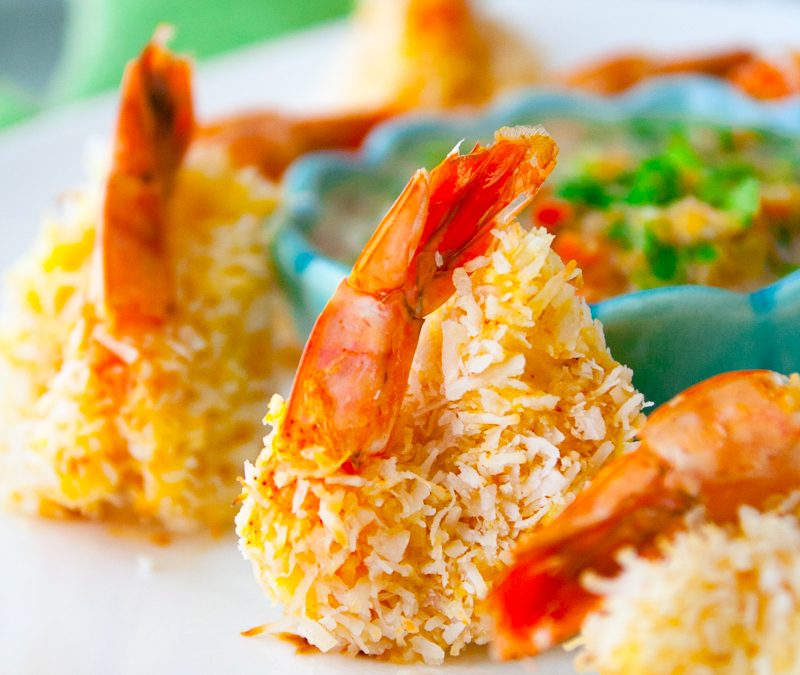 coconut shrimp with mineola salad