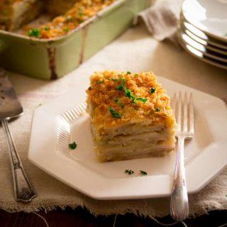 light parsnip-potato-leek-gratin recipe from Healthy Seasonal Recipes via @healthyseasonal