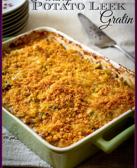 parsnip, potato and leek gratin