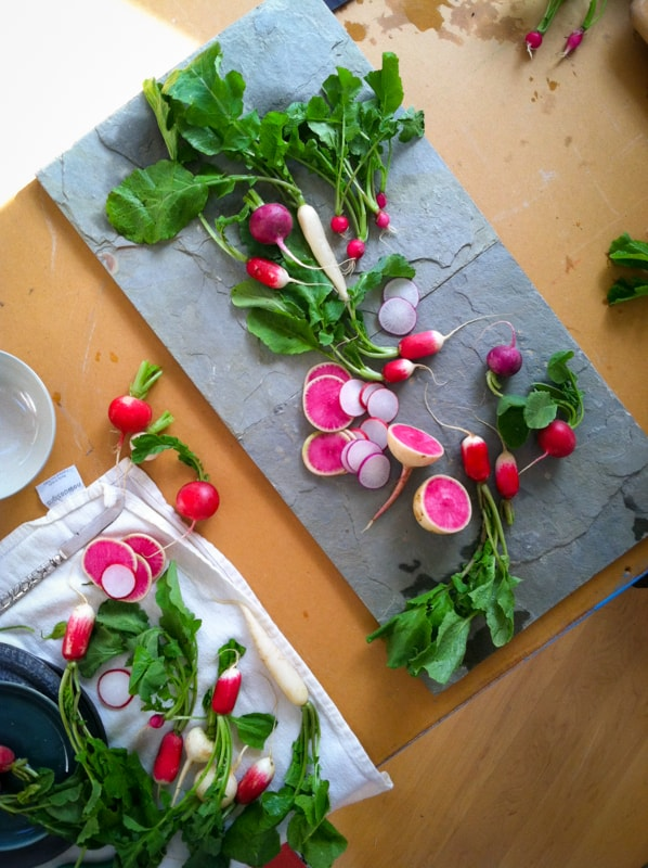 Vermont Food Stylist Katie Webster magazine cover shoot radishes