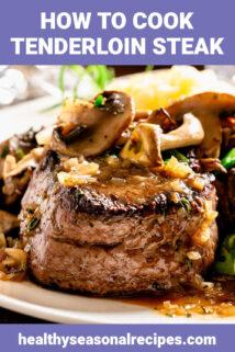 juicy steaks with mushrooms on top