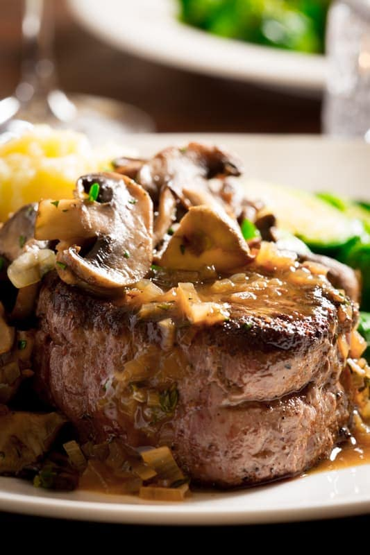 big sexy steaks with tarragon mushrooms