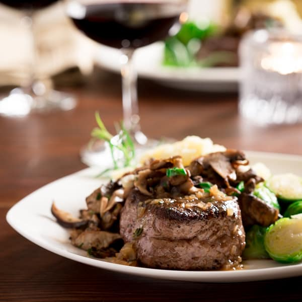 big sexy steaks with tarragon mushrooms