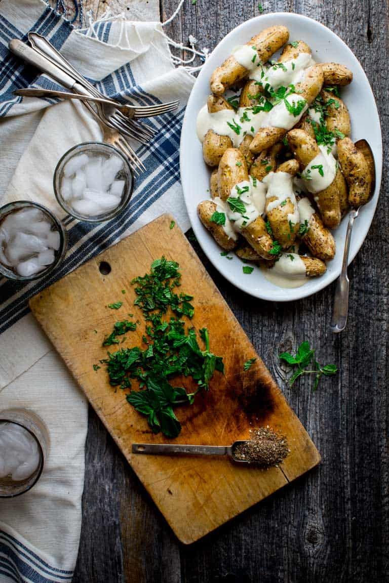 Potatoes with Tahini Sauce - Photography tips for food bloggers by Katie Webster