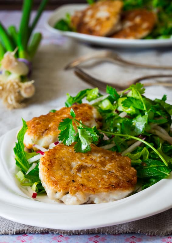 thai-style fish cakes with herbal salad