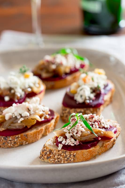 beet and caramelized onion bruschetta with goat cheese crumbles {and a giveaway}