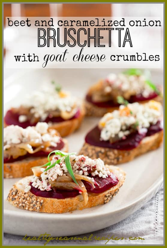 Crumbled Goat Cheese with Apricots and Thyme and with Cranberry and Tarragon on Caramelized onion and beet bruschetta | Appetizer via Healthy Seasonal Recipes
