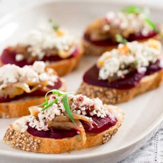 Beet and Caramelized Onion Bruschetta with Crumbled Goat Cheese