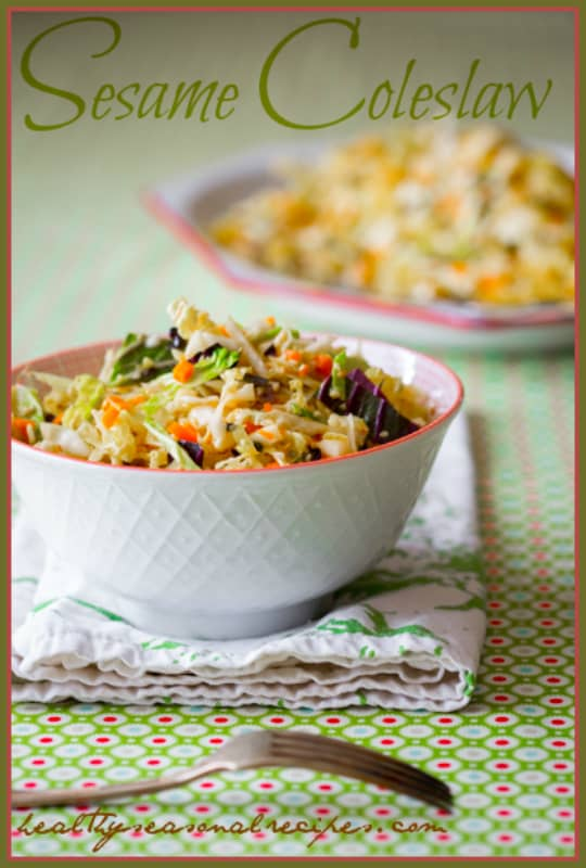 Sesame Cabbage Coleslaw Recipe #paleo #vegan #glutenfree