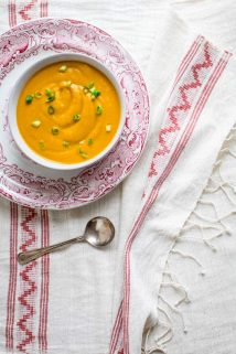 This Cheddar Chipotle Sweet Potato Soup Creamy is smooth baby! It gets a smoky kick from chipotle and a tangy burst from sharp cheddar making it an awesome vegetarian fall meal. Gluten free and grain free, too! | Healthy Seasonal Recipes | Katie Webster