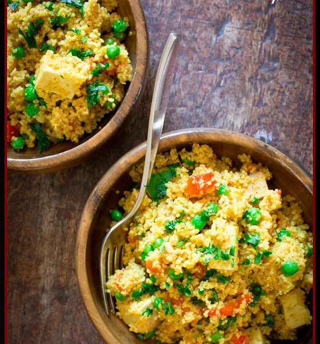 curried couscous with roasted red pepper, peas and tofu
