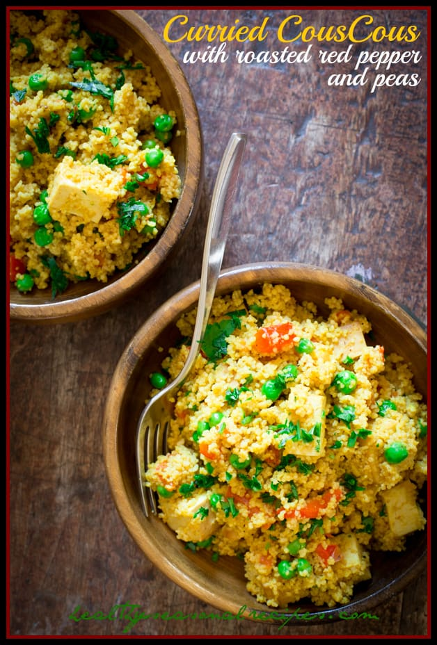Curried couscous with roasted red pepper peas and tofu