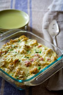 Easy Ham and Asparagus Bread Pudding