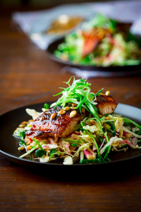Hot and Sweet Slaw with Jerk Spiced Salmon ~ Paleo and Gluten Free