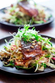 Jerk Spice Salmon with Hot and Sweet Slaw on Healthy Seasonal Recipes by Katie Webster