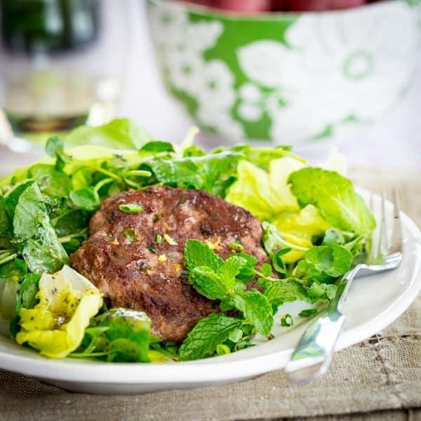 Lamb Patties with Spring Greens and Mint Salad #paleo #gluten-free