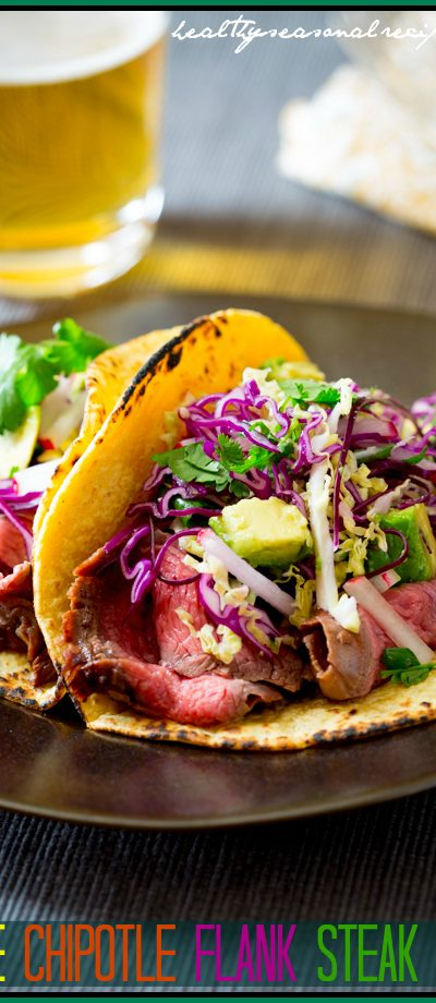 maple chipotle flank steak tacos