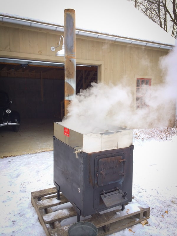 Our backyard maple sugaring operation in action mini evaporator