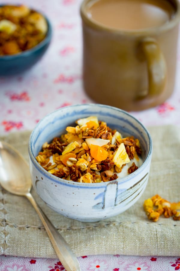 Gluten-free Coconut Granola with dried bananas and millet