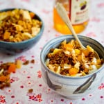 guten free coconut granola with tropical fruit