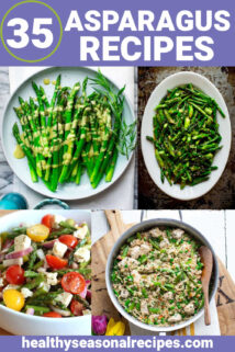 a collage of asparagus recipe photos with text overlay
