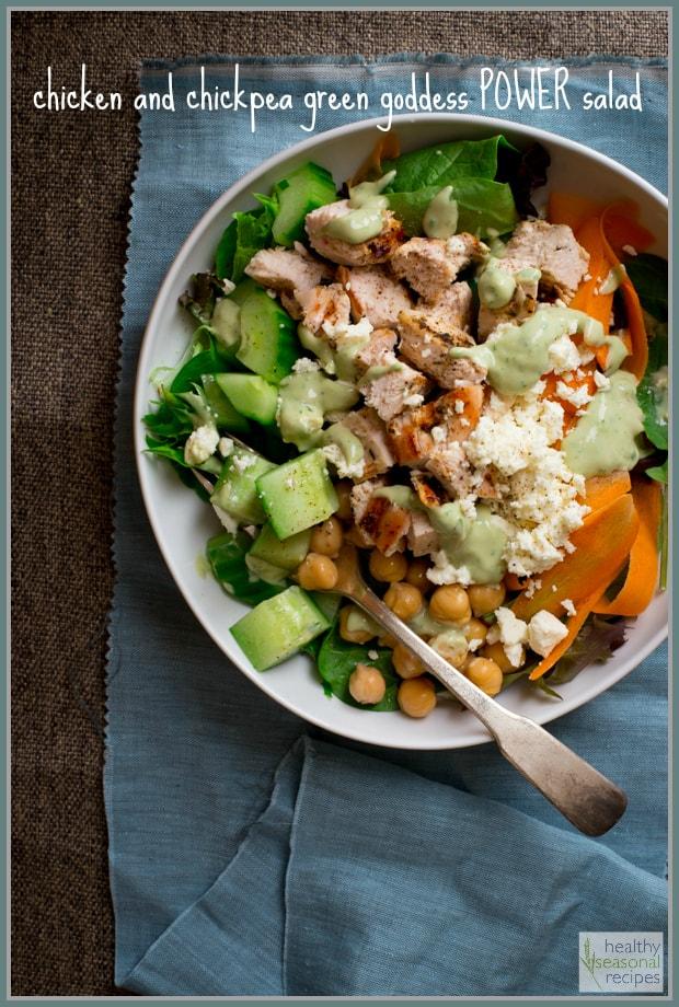 chicken and chickpea green goddess power salad