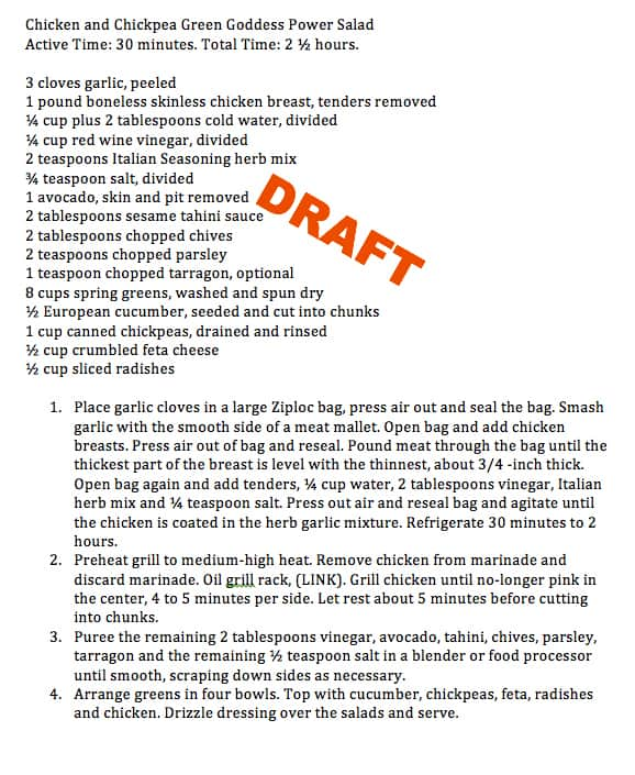 How to write better recipes ~ write a hypothesis draft