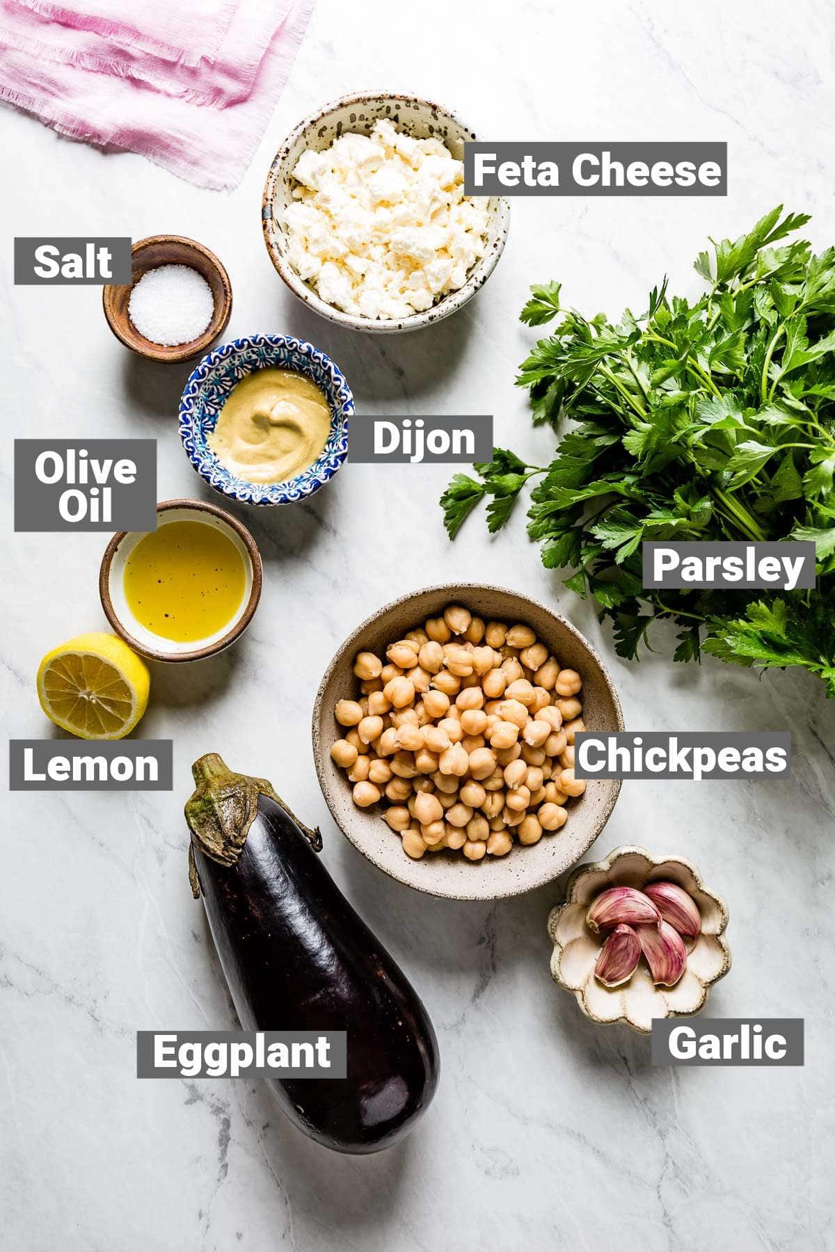 ingredients for roasted eggplant salad