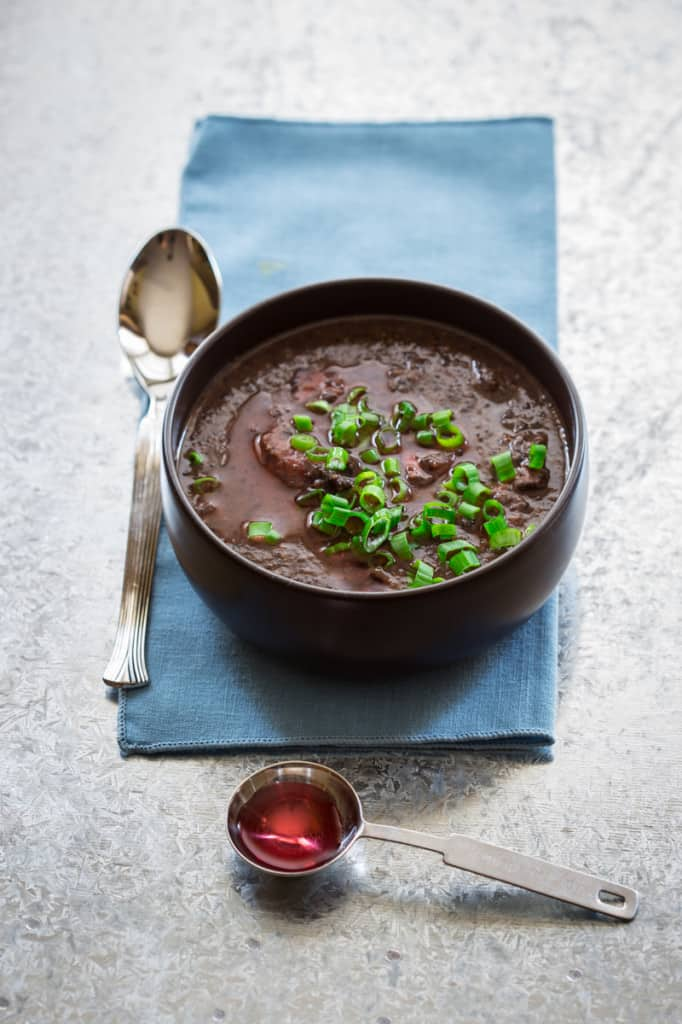 Smoky Black Bean Soup with Ham Hocks and Vinegar
