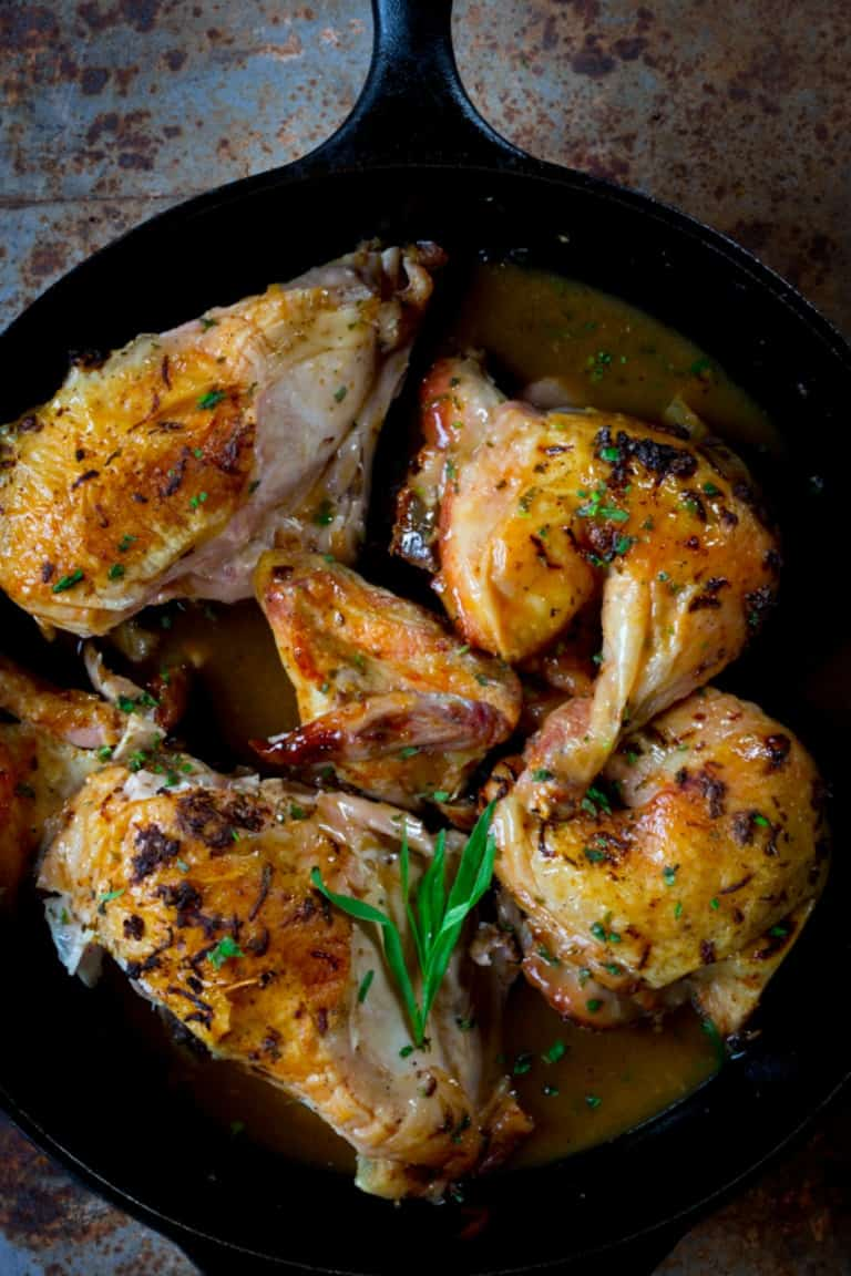 spatchcocked skillet roasted chicken with tarragon
