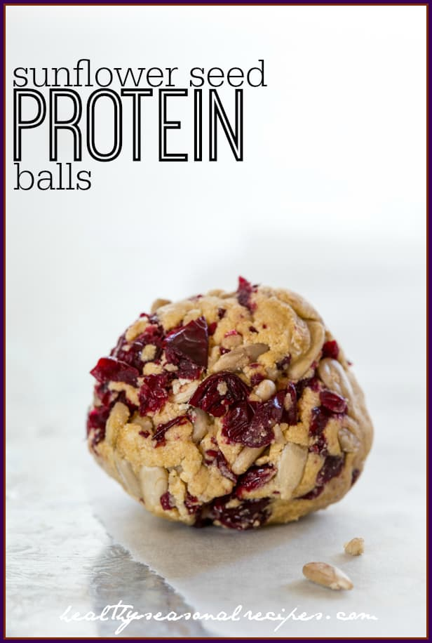 Sunflower Seed, banana, cranberry protein balls. Gluten-free, vegetarian and nut free via healthyseasonalrecipes.com