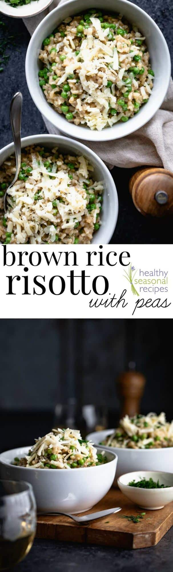 Brown Rice Risotto with peas and herbs, a healthy vegetarian dinner the whole family will love. #brownricerisotto #brownrice #risotto #vegetarian #glutenfree #cheddarcheese