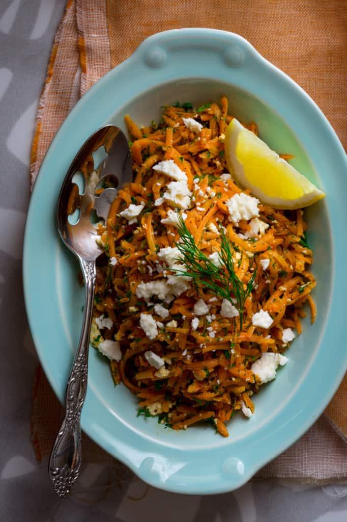 lemony carrot salad with mustard seeds and feta #glutenfree #vegetarian