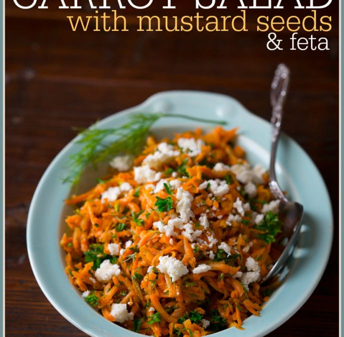 lemony carrot salad with mustard seeds and feta