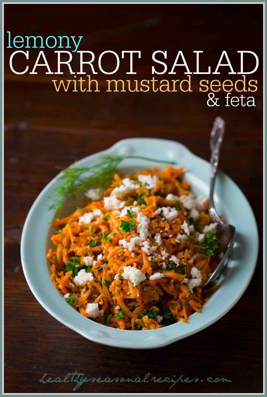 lemony carrot salad with mustard seeds and feta on healthyseasonalrecipes.com #glutenfree #vegetarian
