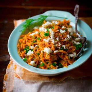 lemony carrot salad with mustard seeds and feta on healthyseasonalrecipes.com
