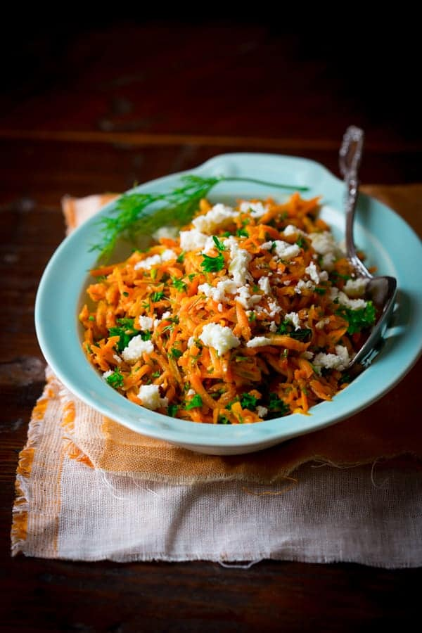 lemony carrot salad with mustard seeds and feta on healthyseasonalrecipes.com