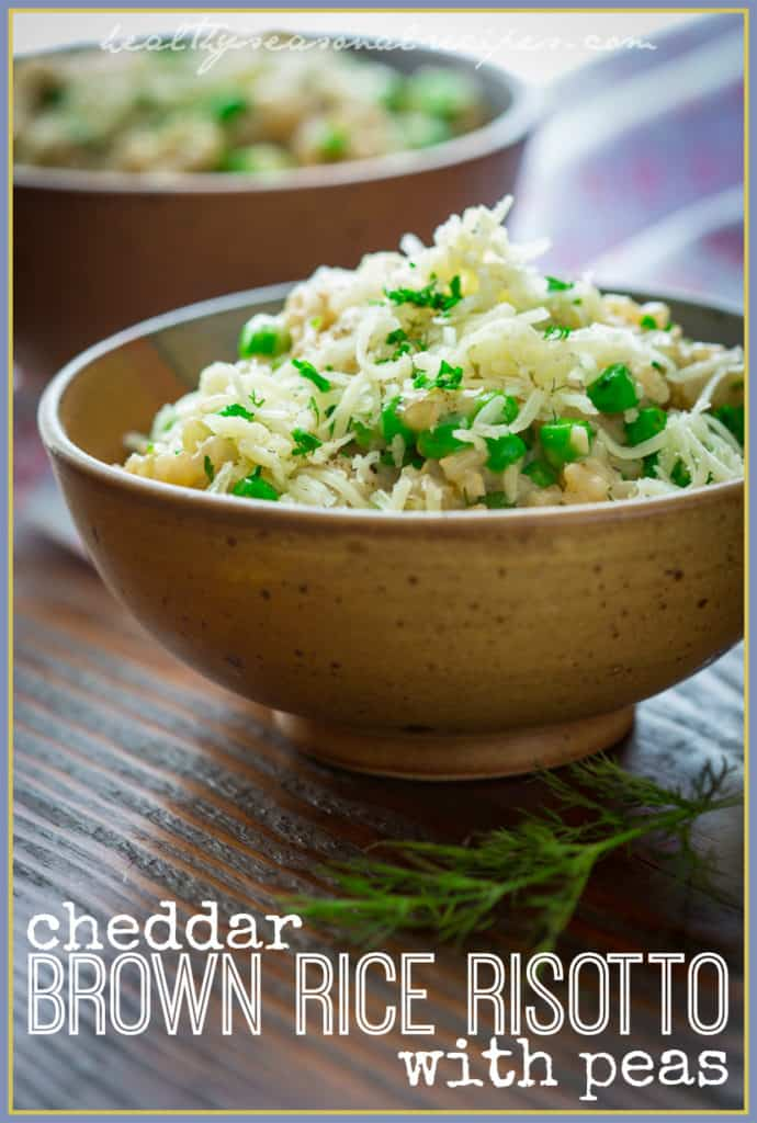 cheddar brown rice risotto with peas