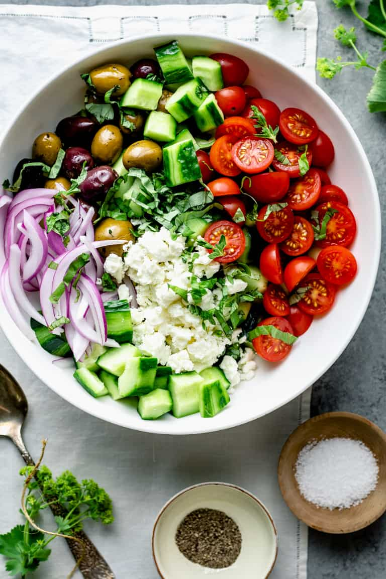 overhead perspective of chopped greek salad